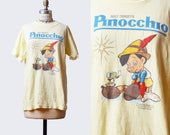 Vintage 80s Pinocchio Shirt Graphic TShirt / 1980s Cartoon Retro Movie T Shirt Walt Disney Small Medium s m