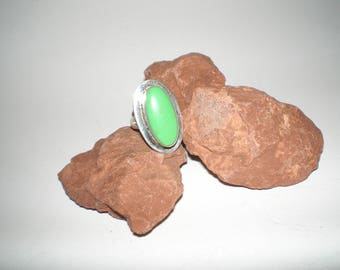 """Gaspeite Ring """"Lime Green Turquoise"""" Size 6-1/4  Native American Vintage Sterling- Earthy Tribal Unisex Beauty"""