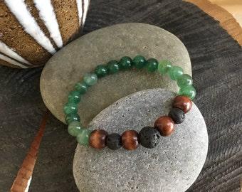 Diffuser Bracelet, Chakra Bracelet, Green Aventurine, Lava, and Wood, Unisex Bracelet