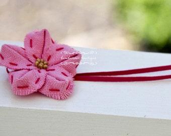 vintage headband, baby headband, newborn headband, pink headband, small flower baby headband