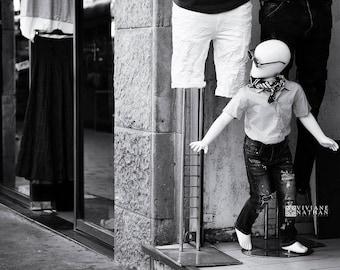 Jerusalem black and white street photography, urban photography, mannequin photography, black and white street print, Jerusalem print,