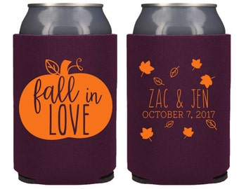 Fall Wedding Favors - Rustic Personalized Fall in Love Can Coolers, DIY Favors for Guests, Destination Wedding Ideas, Stubby Holders, Beer