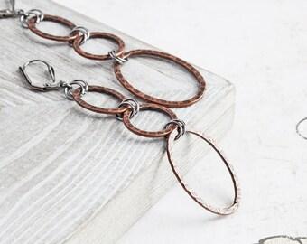 Long Antiqued Copper Plated Circle Loop Dangle Earrings on Gunmetal Hooks