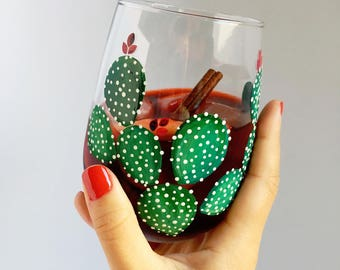 Prickly Cactus Hand Painted Wine Glass