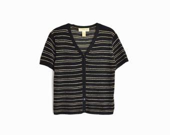 Vintage 90s Striped Black Cardigan / Short Sleeve Sweater / 90s Minimalist Sweater - women's small
