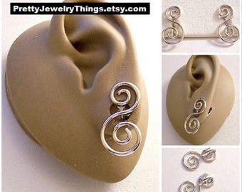 Avon Double Spiral Thin Rib Hoop Clip On Earrings Silver Tone Vintage Open Long Swirling Scroll Dangles