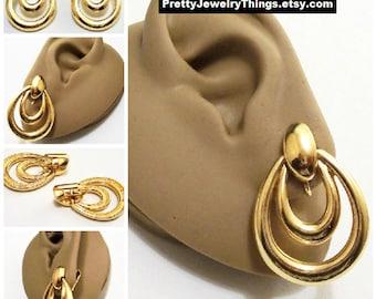 Avon Door Knocker Hoops Clip On Earrings Gold Tone Vintage 1996 Double Loop Open Oval Dangle Rings Large Dome Button