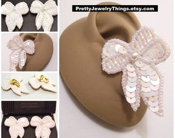 Avon White Sequin Bow Clip On Earrings Gold Tone Vintage 1993 Big Ribbon White Pearl Seed Beads Layered Discs