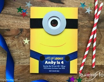 Minion Birthday Invitation 3D Pop Up - Quick Ship - Despicable Me 3D Pop Up Design by Le Snooty Fox