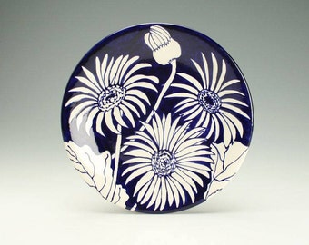Flowers Ceramic Platter, Hand Painted Round Pottery Plate, Deep Delft Blue Flower Decorative Tableware