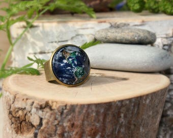 Planet Earth Ring, Galaxy Ring, Adjustable Ring, Antique Bronze Ring, Glass Dome Ring, Galaxy Jewelry