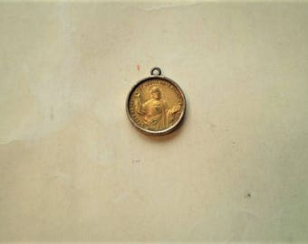 Jesus & Virgin Mary - Vintage Medal or Pendant - Round - Gilt Metal - Sweet Heart of Jesus Have Mercy On Us - Catholic - Holy Charm
