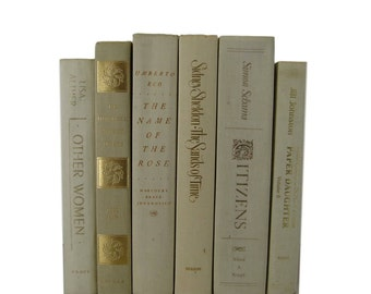 Vintage White Books, Farmhouse Decor, Bridal Shower Books, Beige Ivory Decorative Books, Photo Props, Wedding Decor,  Home Decor, Old Books