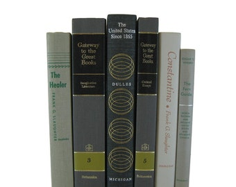 Farmhouse Decor, Gray Decorative Books, Vintage Books ,  Wedding Decor , Book Decor  , Photo Prop , Bookshelf Decor , Old Book Decor ,