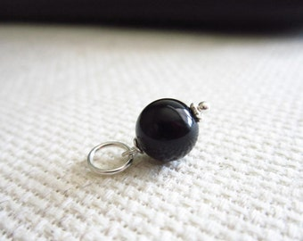 Jet Black Onyx Gemstone - Sterling Silver Charms - Natural Gemstone Charm - Black Chalcedony Pendant - Black and Silver Jewelry
