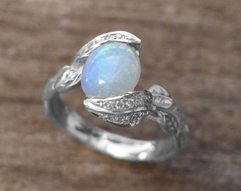Opal Engagement Ring, Opal Leaves Ring,  Opal Ring Gold, Engagement Ring With Opal, Natural Floral Leaves Opal Ring, Opal Leaf Engagement