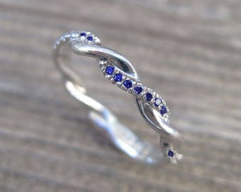 Sapphire Wedding Band, Sapphire Infinity Knot Ring, Infinity Sapphire Wedding band, Infinity Wedding Ring, Braided Sapphire Wedding Band