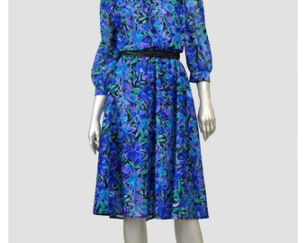 Vintage 1970s Dress Blue Floral Dress Tropical Print Chiffon Dress Puff Sleeve Shirt Dress Knee Length Midi Dress Secretary 70s Dress