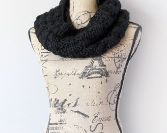 Toasty Warm Knitted Waffle Cowl in Black- Woman's Scarf