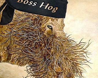 Note Cards, 'Boss Hog' Bikers, Hogs, Hairy, Blank Card, Bearded Pig, Pigs, Pig Cards, Pig Art, Fine Art