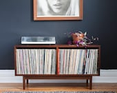 Mid Century  Medium Record Storage Cabinet // Console // Vinyl Turntable Setup // 175+ records // Walnut