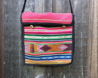 Vintage Bolivian Woven Textile Purse / Bolivian Purse / Colorful Purse / Hippie Boho Purse
