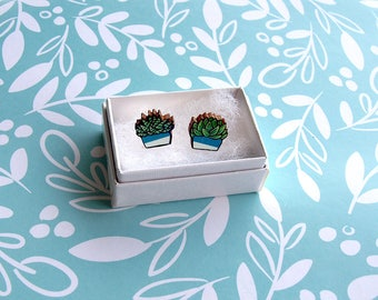 Wood Succulent Mismatched Earrings - Wooden Earrings / Cute Plant Earrings / Succulent Jewellery / Wood Post Earring / Succulents