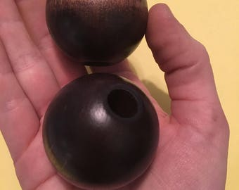 2 Giant Dark Cherry Brown Vintage Wood Beads 43 mm 1970s