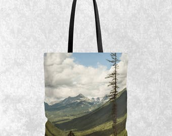 Mountain Tote Everyday Bag, Scenic Mountains Tote, Tote Bag For Men, Nature Themed Gift, Mountain Range, Forest Shopping Bag, Canada Gift