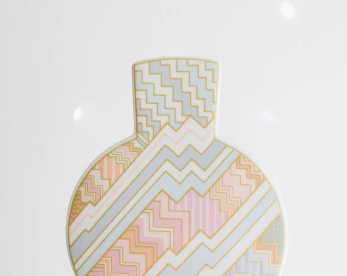 Vintage Rosenthal Powder Pink, Gold and Serenity Blue White Porcelain Vase // Rosemunde Nairac // 1970s Modernist