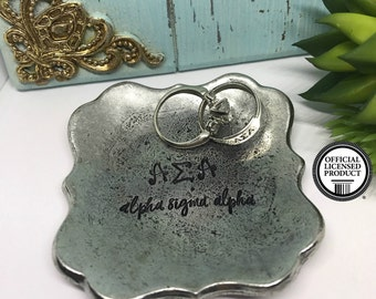 Alpha Sigma Alpha Ring Dish - Sorority Gift Ideas - ASA Jewelry Holder - The Charmed Wife - Unique Sorority Presents - Handmade Gift Ideas
