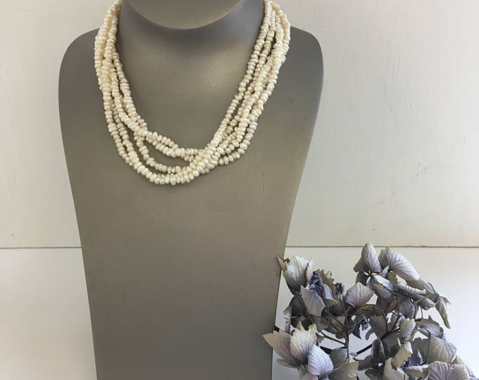 Five strand vintage seed pearl necklace