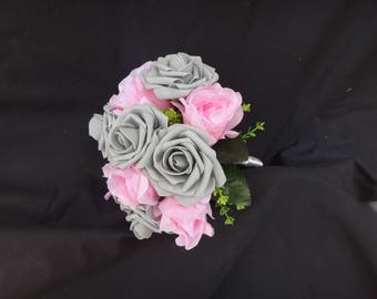 Pink gray small bouquet, bridesmaids bouquet, silk flower, foam flower bouquet
