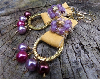 Leather Purple Earring jewelry earring dangle drop purple beaded hemp earring purple beads gold leather earring hippie peace jewelry boho