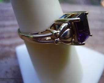 Vintage Estate 14K Yellow Gold Blue Topaz/Amethyst Reverseable/Flip Ring  Size 7 1/2