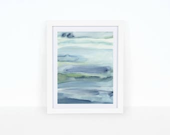 Dreaming in Blue, Minimal, watercolor print, wall art