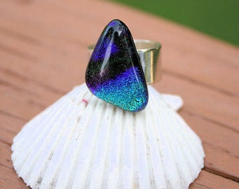 Blue Purple Dichroic Fused Glass Ring, Fused Glass Jewelry, Handmade Jewelry