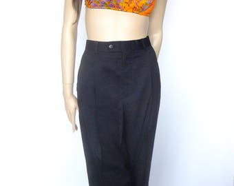Black pleated trousers, black baggy pants, 80s pants, womens black tailored pants