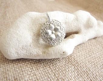 Silver Flower Pendant , Fine silver , Floral pendant , Flower necklace , .999 Silver , Minimalist