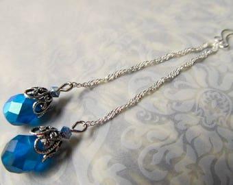 Art Nouveau Earrings Steampunk Earrings Gothic Earrings Art Deco Jewelry Sterling Earrings 1920s Earrings Teal Blue Earrings- Alluring