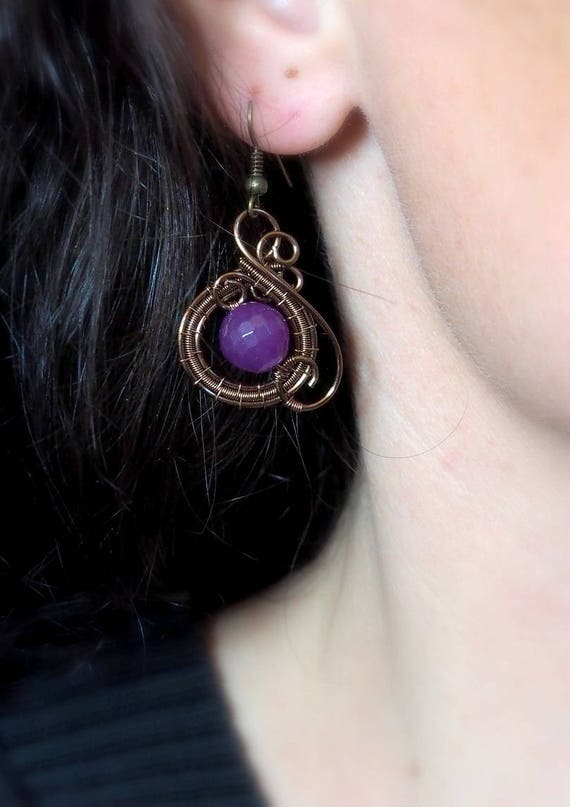 Wire wrapped earrings drop dangle Everyday Casual Boho Geometric Circle Artistic Statement earrings Purple bronze Anniversary gift for women