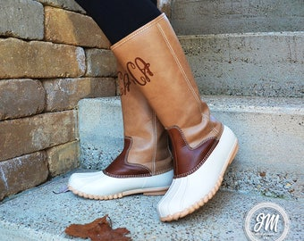 IN STOCK! Monogram Tall Duck Boots, Monogrammed Tall Duck Boots, Personalized Duck Boots, Knee Length Duck Boots, Preppy Duck Boots