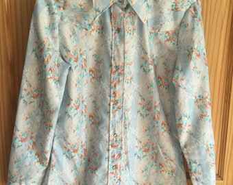 Light Blue Western Square Dance Dressy Shirt Size 12