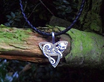 Celtic cat necklace, STERLING SILVER; Bola leather Viking necklace, wild cat necklace,  cat jewelry, unisex gift,  for women, cat jewelry
