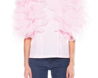1960s Pink Large Ruffle Top Size: 4