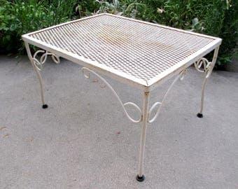 White Iron Patio Furniture vintage wrought iron patio furniture | etsy