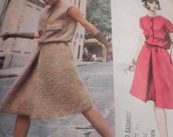Vintage 1960's Vogue 1444 Paris Original Patou Dress Sewing Pattern Size 12 Bust 32