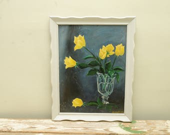 Original Painting Yellow Roses in Vase Signed