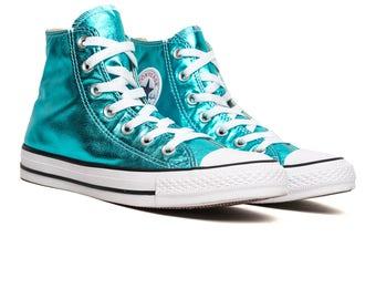 Converse High Top Blue Turquoise Teal Aqua Metallic Chuck Taylor Custom w/ Swarovski Crystal Rhinestone Jewel Bling All Star Sneakers Shoes