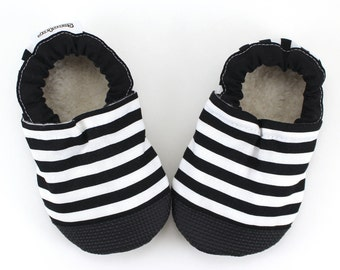 striped baby shoes monochrome soft sole shoes black and white moccs striped booties rubber sole shoes rubber toe shoes toddler pirate shoes